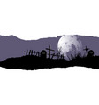 Destroyed cemetery full moon vector image vector image