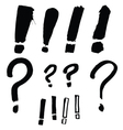 drawn exclamation and question marks vector image vector image