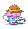 explorer cupcake character cartoon style vector image vector image