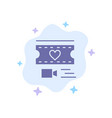 film heart love wedding blue icon on abstract vector image vector image