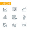 financial icons line style set with exchange vector image