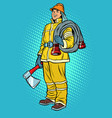 fireman with axe and hydrant vector image