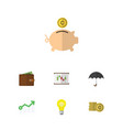 flat icon incoming set of growth diagram cash vector image vector image