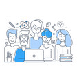 flat line design of creative team teamwork vector image