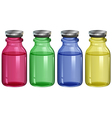 Four clear bottles vector image vector image