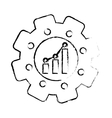 gear with graphic chart vector image vector image