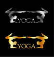 Golden and silver yoga or gymnastics logo vector image vector image