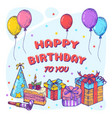 happy birthday greeting card template hand drawn vector image