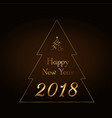 happy new year gold text in christmas tree vector image vector image