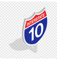 interstate highway sign isometric icon vector image vector image