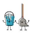 kawaii cartoon bucket with soapy water and mop vector image