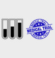 line test-tubes icon and distress medical vector image vector image