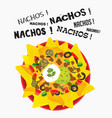 loaded cheese nacho plate with sour cream and vector image