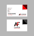 modern creative business card template with af vector image vector image