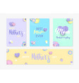 mother day card and label set of paper flowers vector image vector image