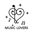 musical clefs design forming a heart shape vector image