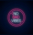no bad vibes - glowing neon phrase in red warning vector image vector image