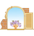 old window and flowers vector image vector image