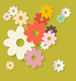 Retro Flowers Green Paper Background vector image vector image