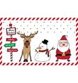 santa reindeer snowman card vector image vector image