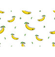 seamless pattern banana icons isolated on white vector image vector image