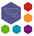 security camera icons hexahedron vector image vector image