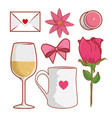 set love card with rose plant and flower vector image