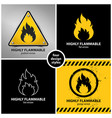 set of highly flammable warning symbols vector image vector image