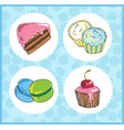 set of icons of sweets with cake cupcake vector image