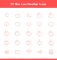 Set of Thin Line Stroke Weather Icons vector image vector image