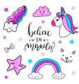 stickers set with unicorn rainbow star cloud vector image
