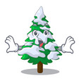 surprised realistic fir tree in snow mascot vector image vector image