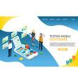 testing mobile software landing page website vector image