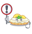 with sign cartoon lemon cake with sugar powder vector image vector image