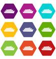 wooden boat icon set color hexahedron vector image vector image