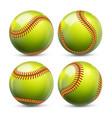 yellow softball equipment baseball set vector image vector image
