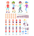 young boys constructor with skate and accessories vector image vector image