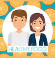 young couple with orange healthy food vector image vector image