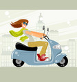young woman on a scooter vector image
