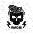 Skull hipster Template for design t-shirts vector image