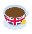 British tea cup icon isometric 3d style vector image