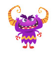 angry cartoon monster with horns vector image vector image