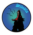 animals wolf howls icon symbol circle emblem vector image