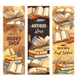 antique book vintage bookstore or bookshop ink vector image vector image