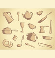 background of kitchen ware vector image vector image