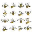 bee icons colour vector image vector image