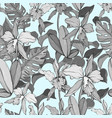 blue vintage seamless floral pattern with orchids vector image vector image