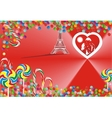 Bright candy and hearts on a red background vector image vector image