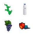 cactus milk and other web icon in cartoon style vector image vector image