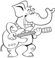 Cartoon elephant playing a guitar vector image vector image